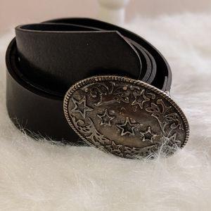 Aldo black italian leather belt